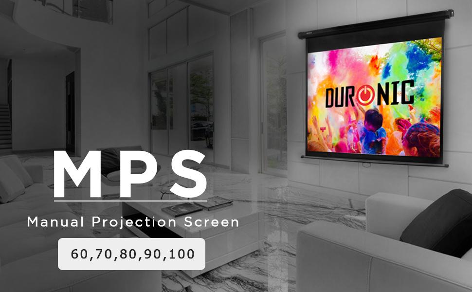 Ecran de projection à déroulement manuel 100 pouces 4:3/203 x 152 cm - Fixation mur ou plafond