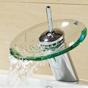 robinets mitigeur ronde verre bec cascade salle de bain robinet d/évier Chrome Terminer baignoire mitigeur de lavabo Vanity