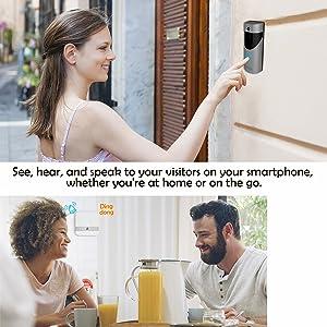 Nicam Smart Sonnette Vid/éo /étanche 720P HD WiFi Walkie Talkie contr/ôl/é par Android et iOS