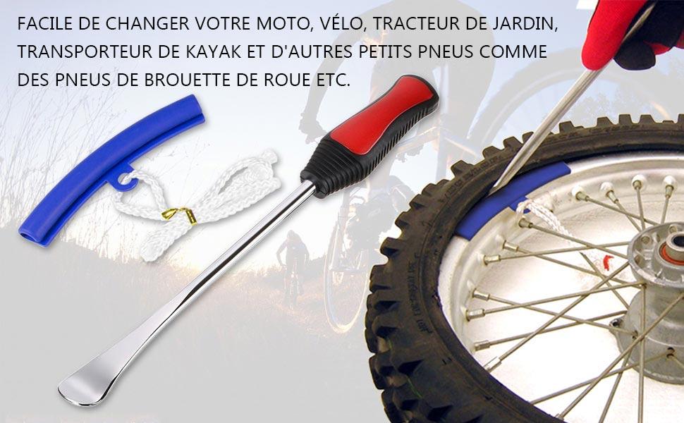 KKmoon Pneu Changer Enlever 3 Pneus Cuill/ère-outil Levier 2 Protecteurs de Jante de Roue Mallette pour Moto V/élo Bleu