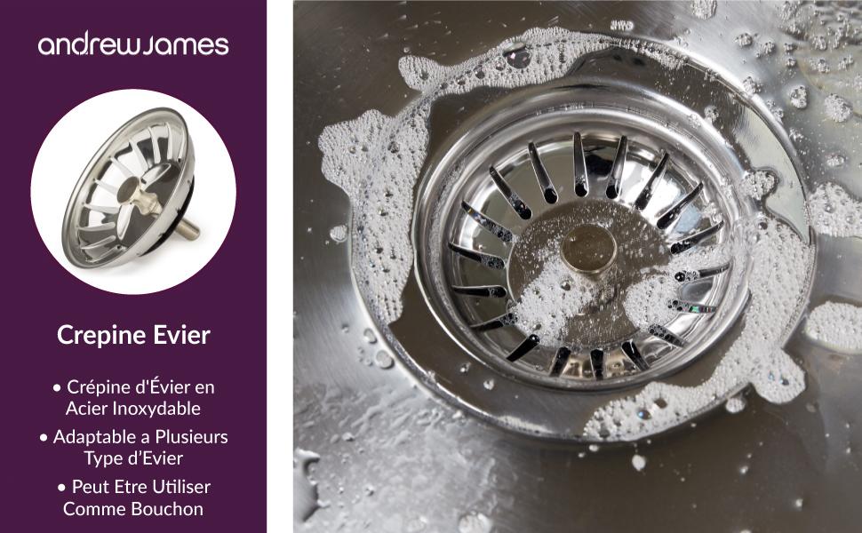 Andrew James Filtre Evier En Acier Inox Pour Les Cuisines Et Salles De Bains Diamètre 83cm