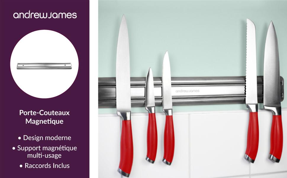 andrew james porte couteau magnetique en acier inoxydable barre magnetique pr perc de 45 cm. Black Bedroom Furniture Sets. Home Design Ideas
