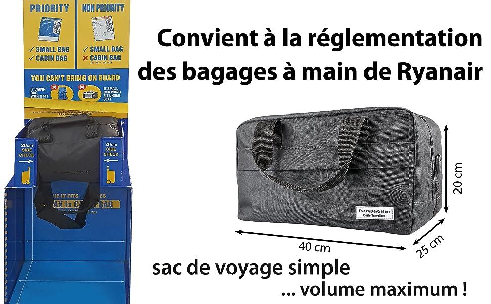 prix compétitif b04b8 5ef80 Every DaySafari, Bagage Cabine Noir pour Ryanair 40x25x20 cm Sac à Main de  Bagage