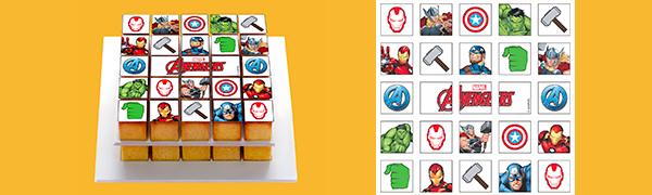 Pixcake Déco Avengers Kit De Décoration Pour Les Gâteaux Cubes à Utiliser Avec Le Pixmoule Le Moule à Gâteaux Idéal Pour Faire Des Carrées Qui