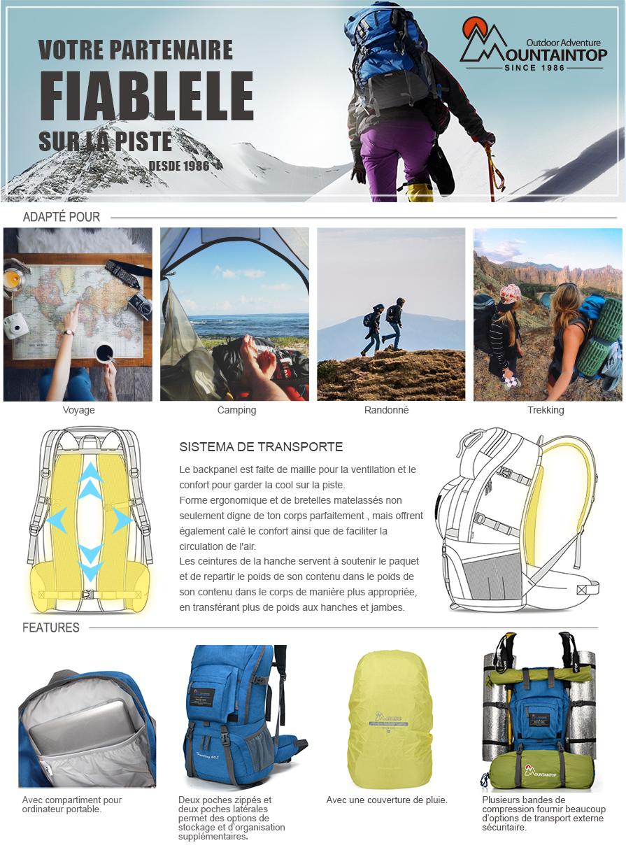 MOUNTAINTOP 40L Sac à Dos de randonée/Trekking/Camping/Voyage éthanche