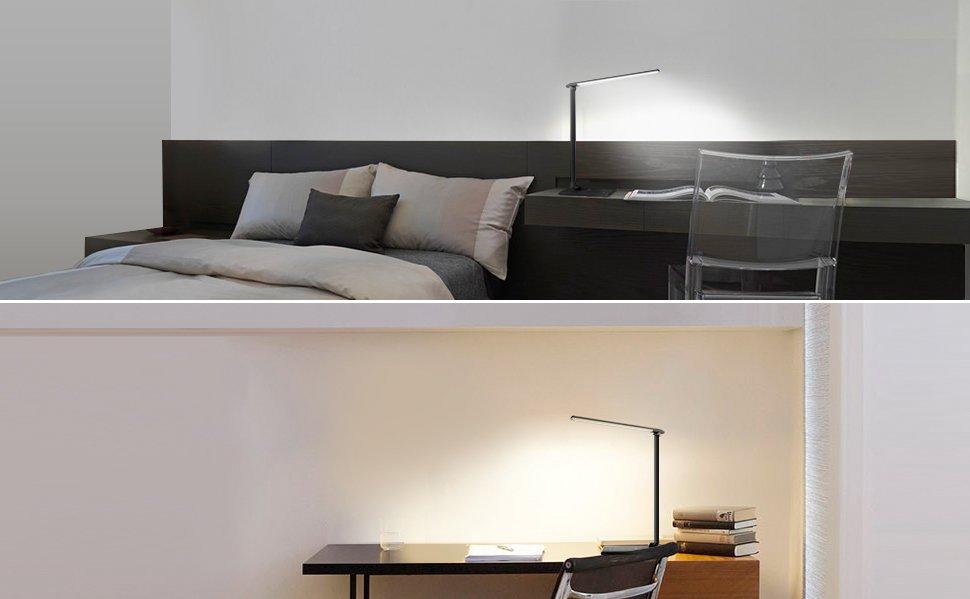 Aukey lampe de bureau pliable lumière de table led 12w avec usb