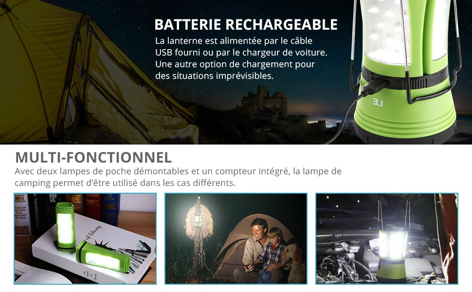 Le Lighting Ever Lanterne Led Avec 2 Mini Lampe Torche Detachable