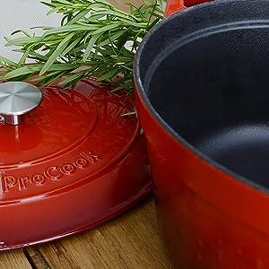 cocotte fonte émailée rouge noir bleu blanc revêtement émailProCook ne colle pas antiadhérent