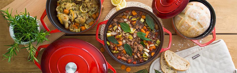 Cocotte marmite daubière faitout revêtement fonte émail émaillée fer forgé rouge bleu noir blanc