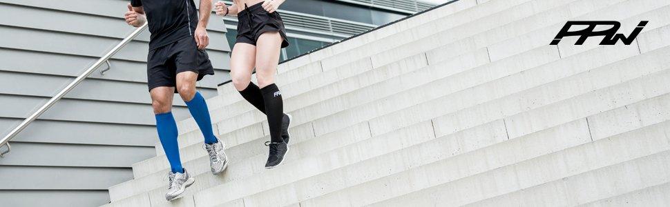 augmentent la Circulation du Sang Le Marathon et Le Voyage en Avion Le Fitness favorisent Le Repos id/éals pour la Course PPWear/® Chaussettes de Compression Gradu/ées pour Hommes et Femmes