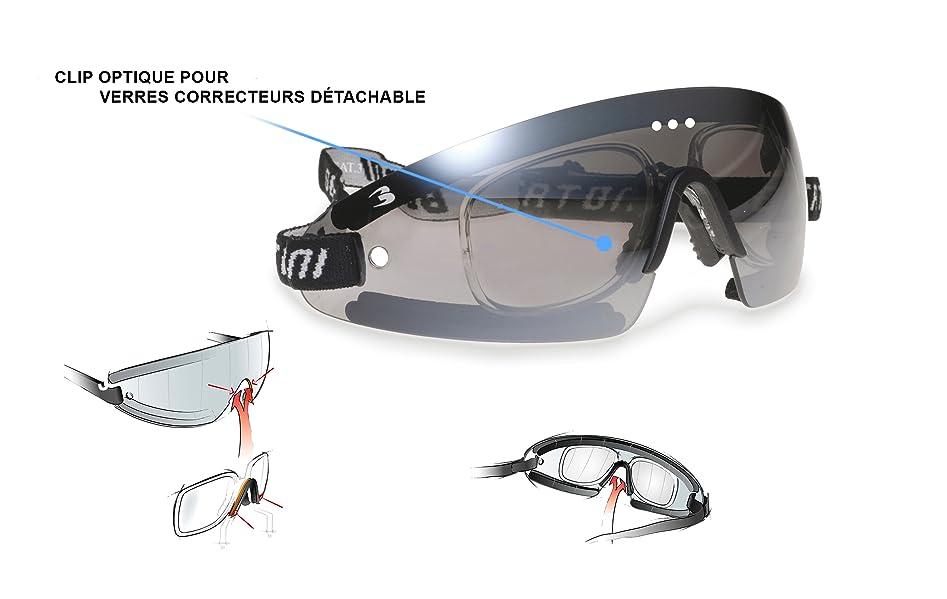 24edd038f54ad Lunettes Coupe-Vent avec Clip pour Verres Correcteurs - Masque Anti-buée pour  Moto Ski Skydiving Sport Extrêmes by Bertoni Italy - AF79