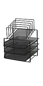 Exerz Grilles métalliques à 3 couches avec 5 diviseurs. classeur de papier/organisateur