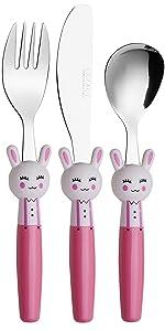 Exzact Couverts Enfant en Inox 3 Pièces: 1 x Fourchette, 1 x Couteau, 1 x Cuillère (Lapins x 3)