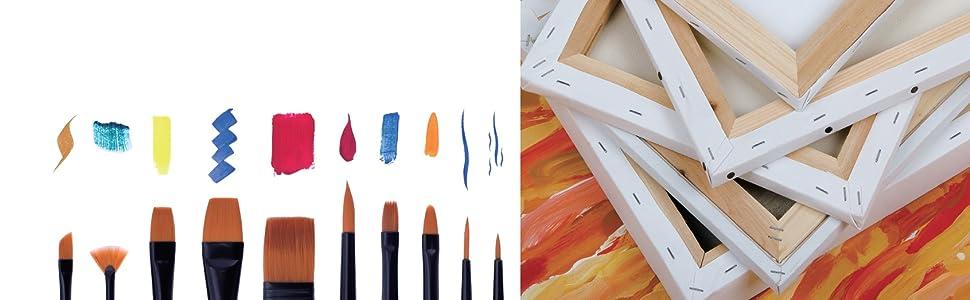 Exerz Lot de 6 Panneaux de Toile/Cartons entoilés/Tableaux en Toile à Peindre