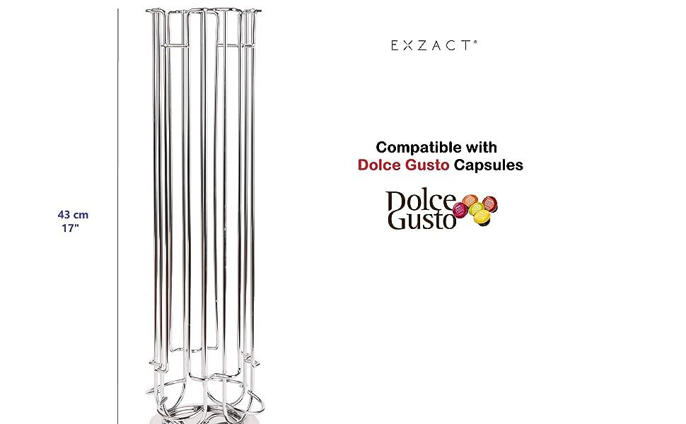 Argent capacit/é de 36 capsules EXZACT EXDG070-36 Tiroir de Rangement compatible pour Capsules Dolce Gusto//Tiroir de rangement pour capsules de caf/é et support de machine pour machine Dolce Gusto