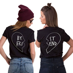 jwbbu best friends t shirt femmes filles blouse casual manches courtes imprim manches col. Black Bedroom Furniture Sets. Home Design Ideas