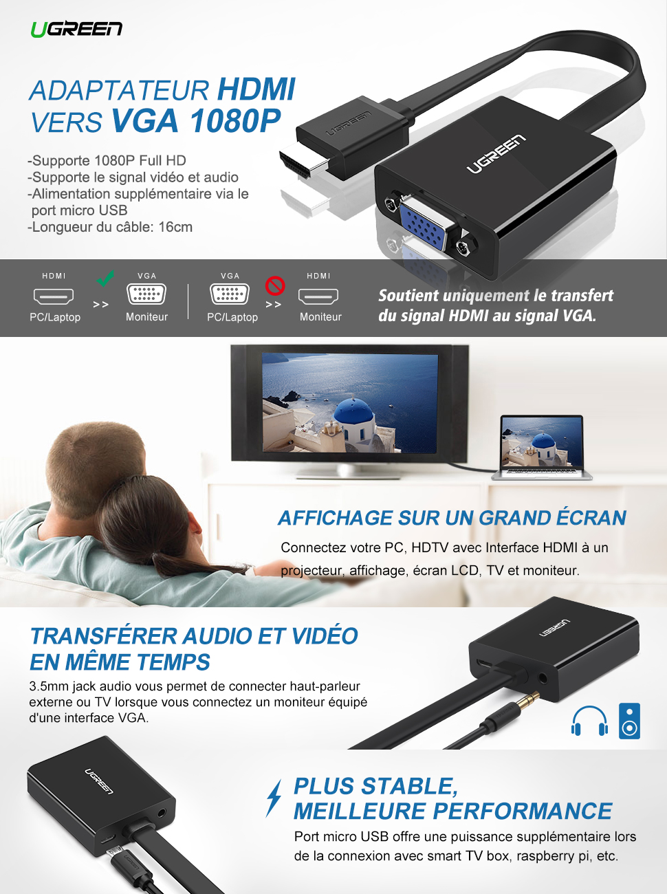 ugreen adaptateur hdmi vers vga 1080p avec sortie audio. Black Bedroom Furniture Sets. Home Design Ideas