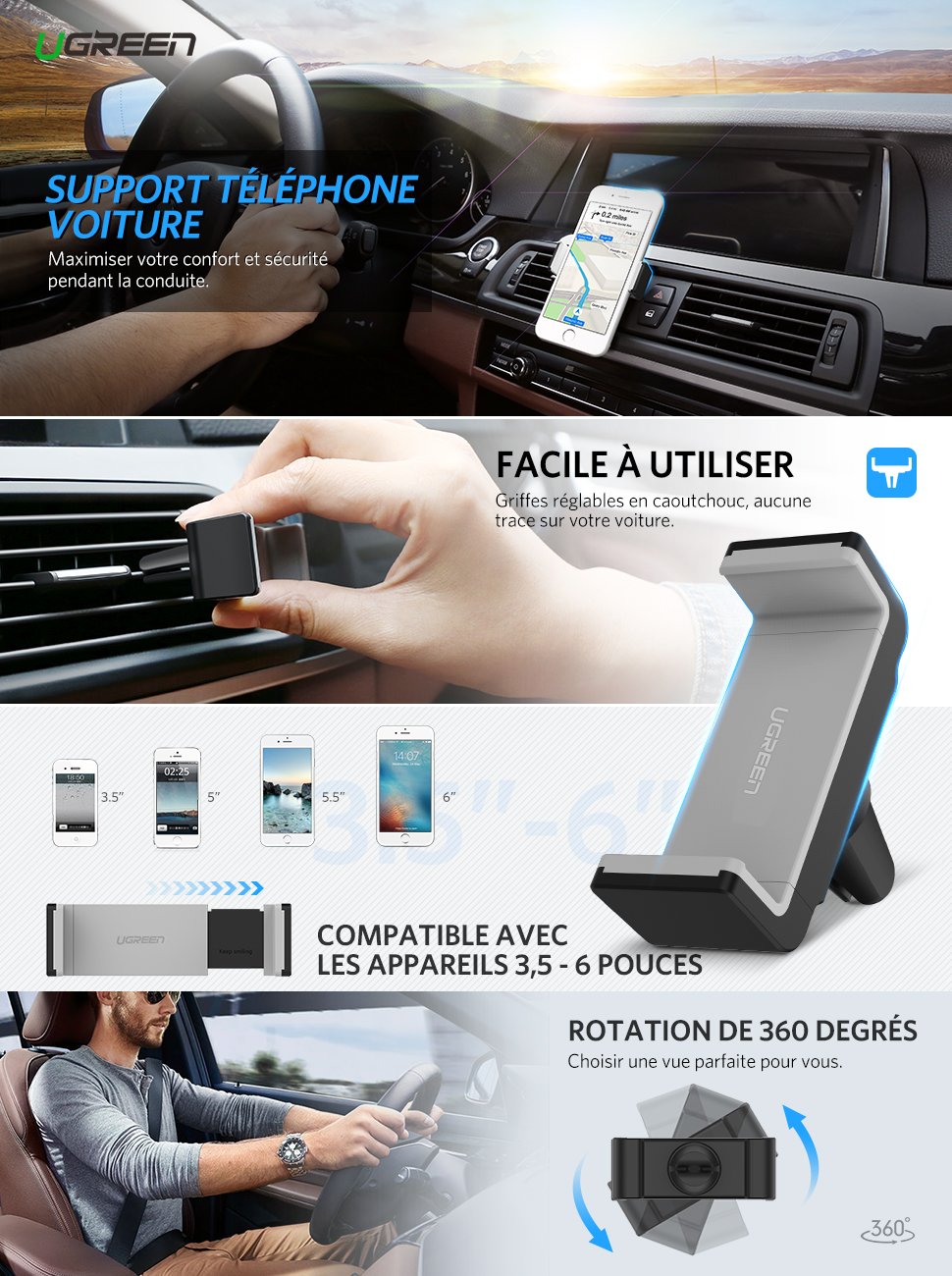 ugreen support t l phone voiture grille d 39 a ration avec rotation 360 pour iphone x 8 plus 8. Black Bedroom Furniture Sets. Home Design Ideas