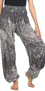 Lofbaz Pantalon Sarouel Femmes Taille Smockée paon Noir B 4XL