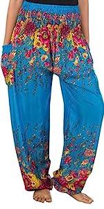 Lofbaz Pantalon Sarouel Femmes Taille Smockée Floral Bleu 3XL
