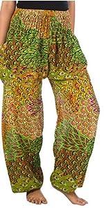 Lofbaz Pantalon Sarouel Femmes Taille Smockée paon Vert Clair 4XL