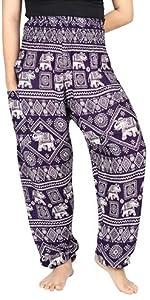 Lofbaz Pantalon Sarouel Femmes Taille Smockée Boho Harem Pants