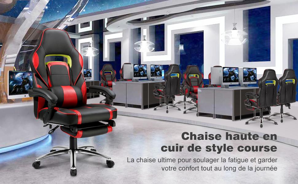 Langria fauteuil de bureau racing pour gaming cuir pu cousin