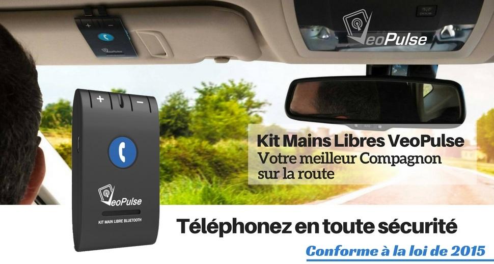 VeoPulse Kit main libre  Bluetooth V4.0 Voiture /à mettre sur Pare-Soleil de Votre Auto