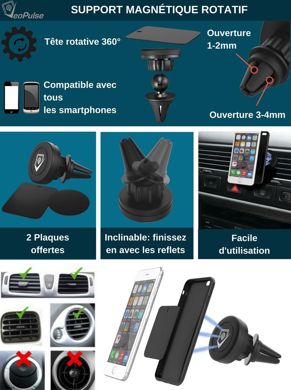 Soyez sereins, votre téléphone ne bougera pas. Des aimants puissants pour  assurer une stabilité parfaite du téléphone 25e0287a66f2