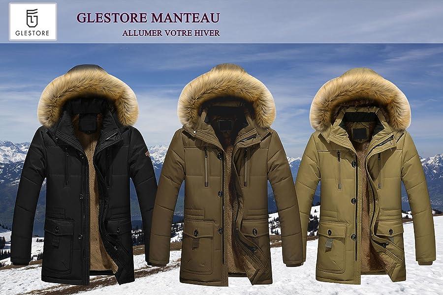 Glestore Manteaux Veste Homme Épais Doudoune Chaud Hiver Parka 448fqw