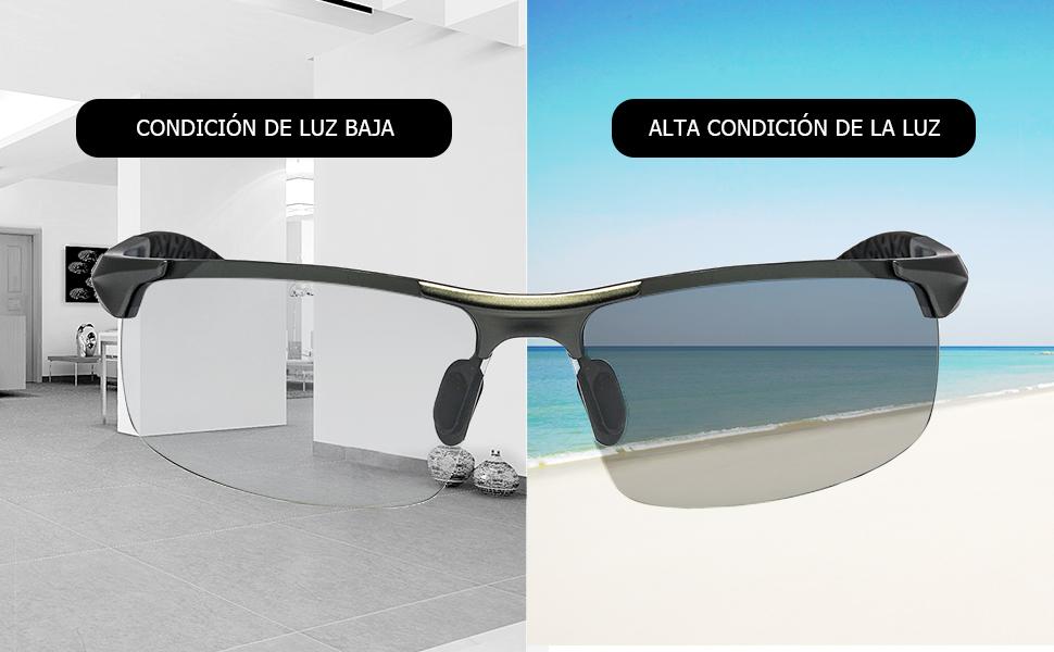 d9fa3b373e TJUTR Gafas de Sol Hombre Rectangulares Photochromic Polarizadas ...
