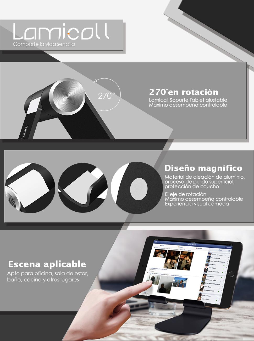 Soporte Tablet Multiángulo, Lamicall Dock iPad Celular : Accesorios ...