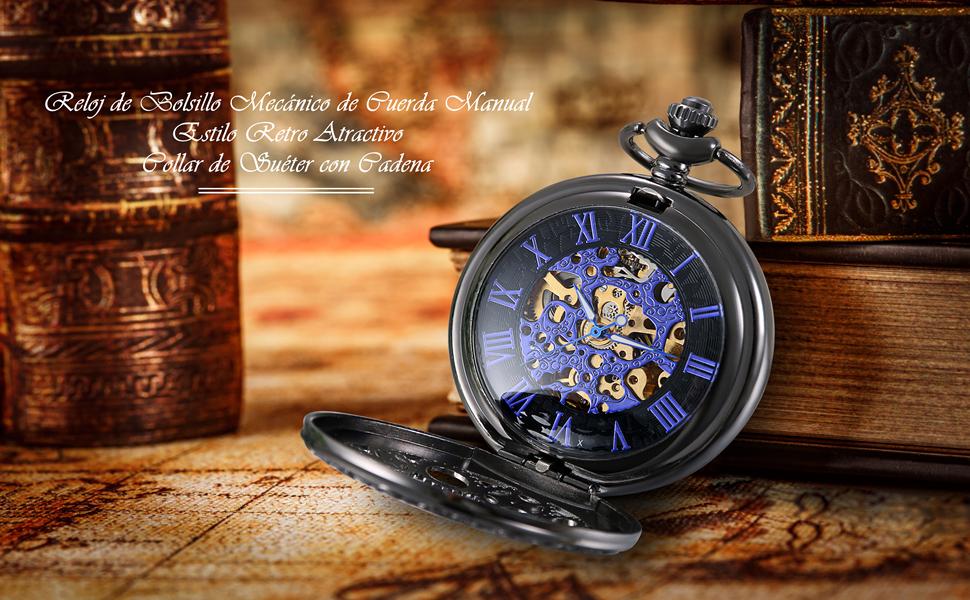 f4d12b6a8a88 Lancardo Reloj de Bolsillo Mecánico de Cuerda Manual Cubierta Forma ...