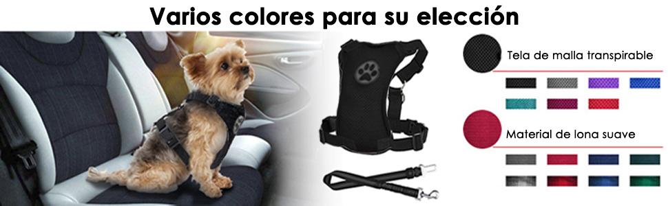 SlowTon Perro Correa de Arn/és de Coche Plus Conector Multifunci/ón Ajustable Doble Ordinario de Viaje de Tela de Malla Transpirable Chaleco Arn/és con Cintur/ón