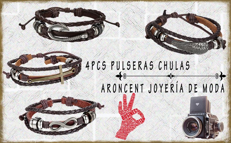 4c484a604515 pulsera hombre mujer joyería juego joya cuero moda chulo elegante colgante  brazalete collar acero