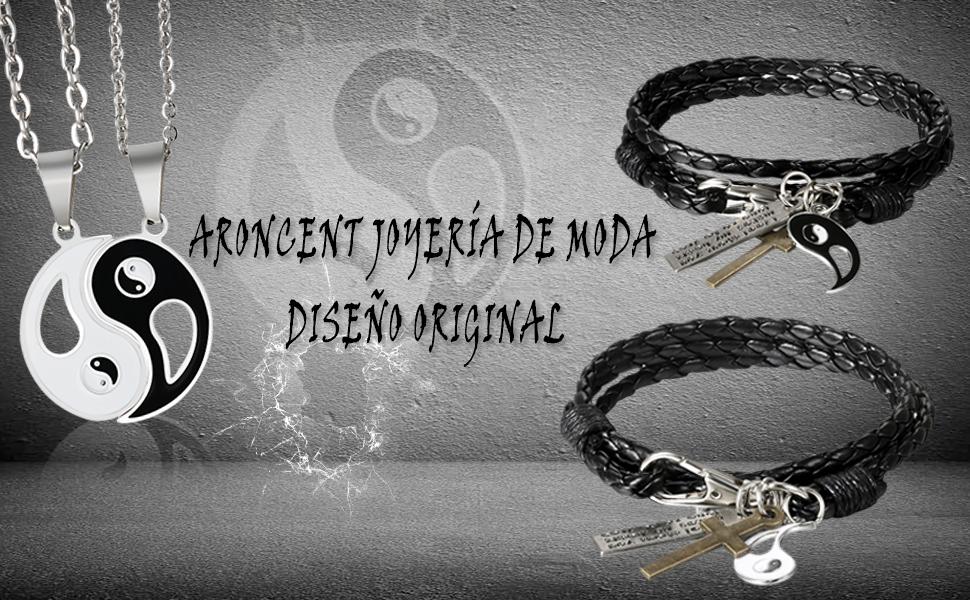 1ebd9290e45e pulsera hombre mujer joyería juego joya cuero moda chulo elegante colgante  brazalete collar acero
