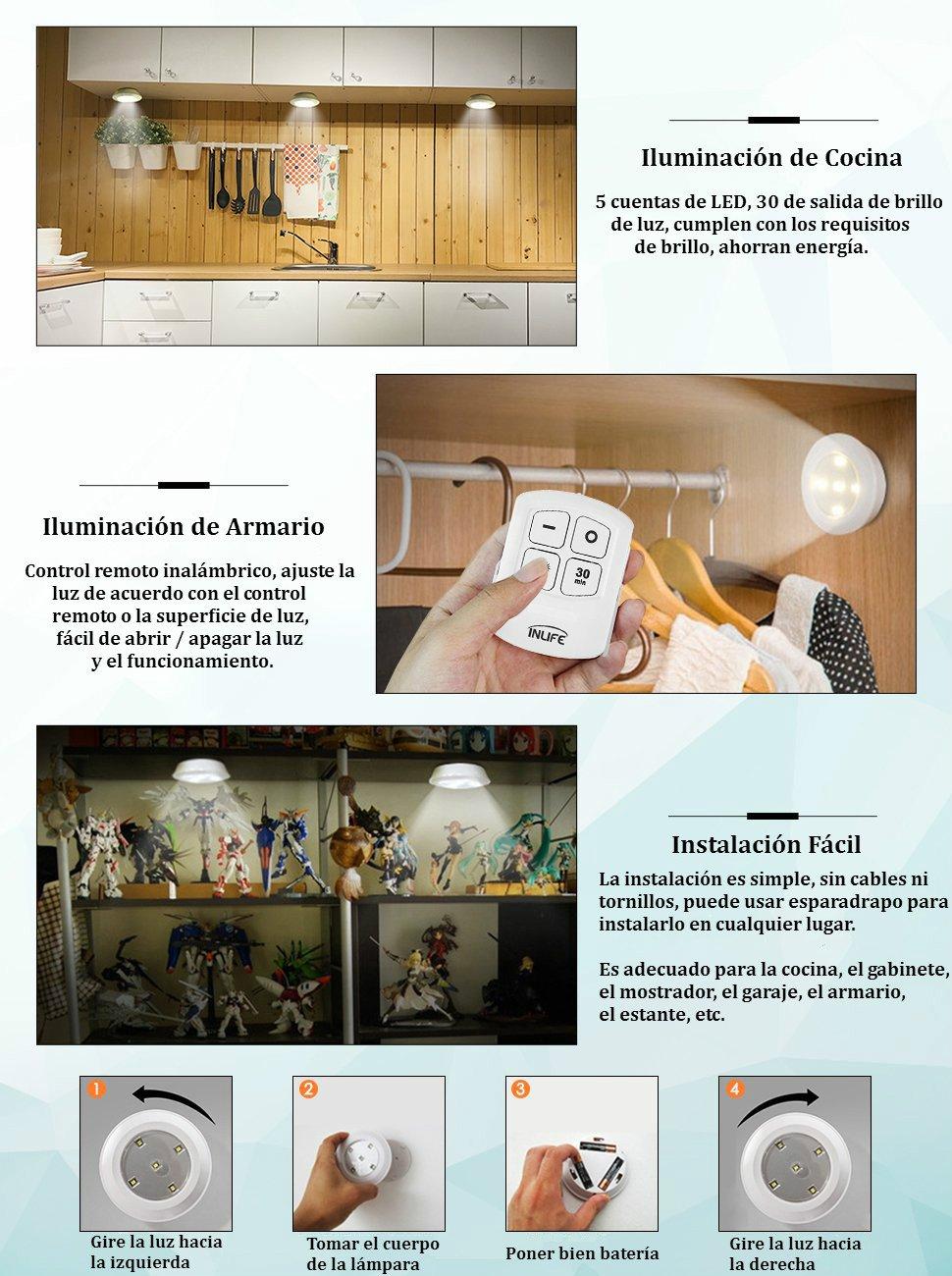 Inlife luz de armario iluminaci n de cocina pack de 6 - Luces led a pilas para armarios ...