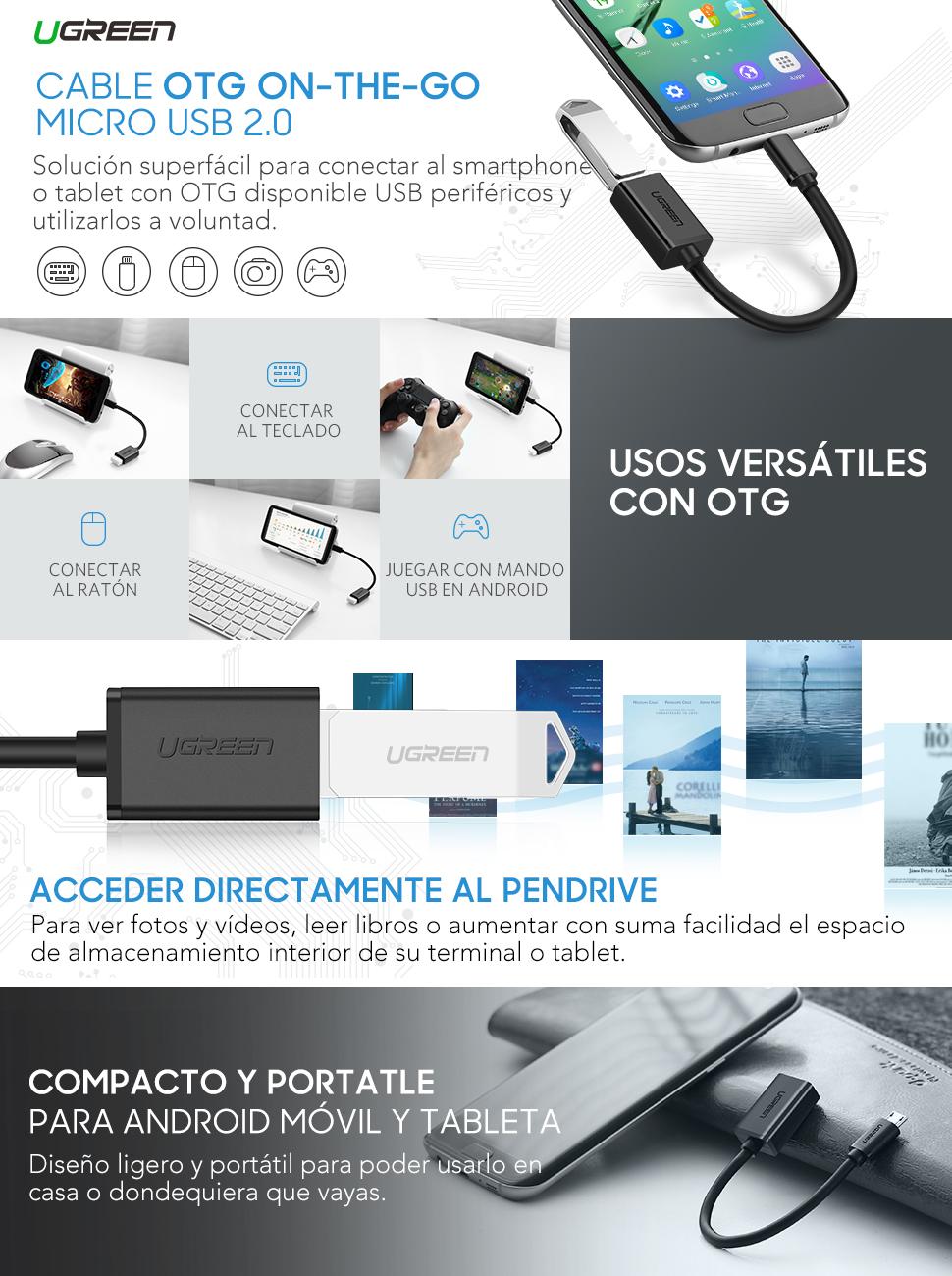 23ef8589c75 Este cable OTG tiene que conectar micro usb de teléfono con OTG función para  agregar un dispositvo con USB hembre. puede enviar los archivos  directamente ...