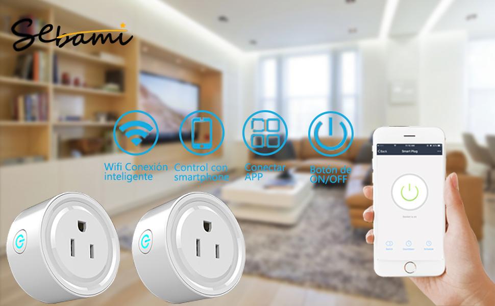 Jinvoo Enchufe inteligente WiFi funciona con aplicaci/ón de smartphone para iOS y Android con funci/ón de temporizador en cualquier lugar y en cualquier momento 2 unidades