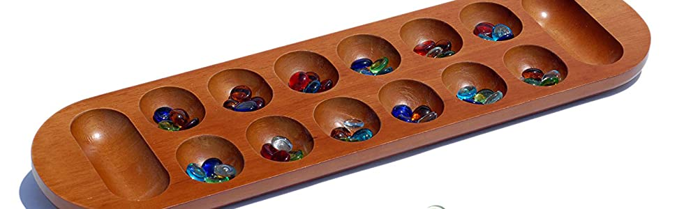 WE Games Coffee Table African Stone Game Solid Wood With Walnut Adorable Game With Stones And Wooden Board