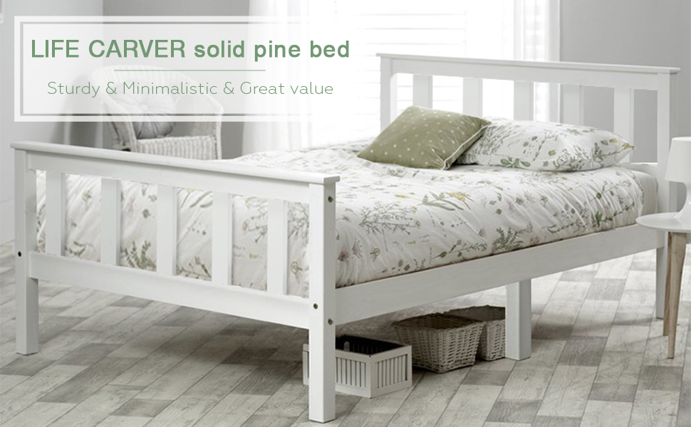 Beds & Mattresses New Kids Childrens White Simple Stylish Sturdy Single Pine Bedroom Bed Frame Home, Furniture & Diy