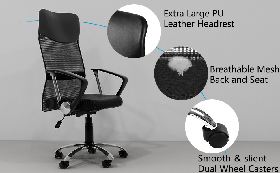 Office Chair Mesh High Back Desk Chair Seat Computer Chair Swivel Adjustable Executive Armrest
