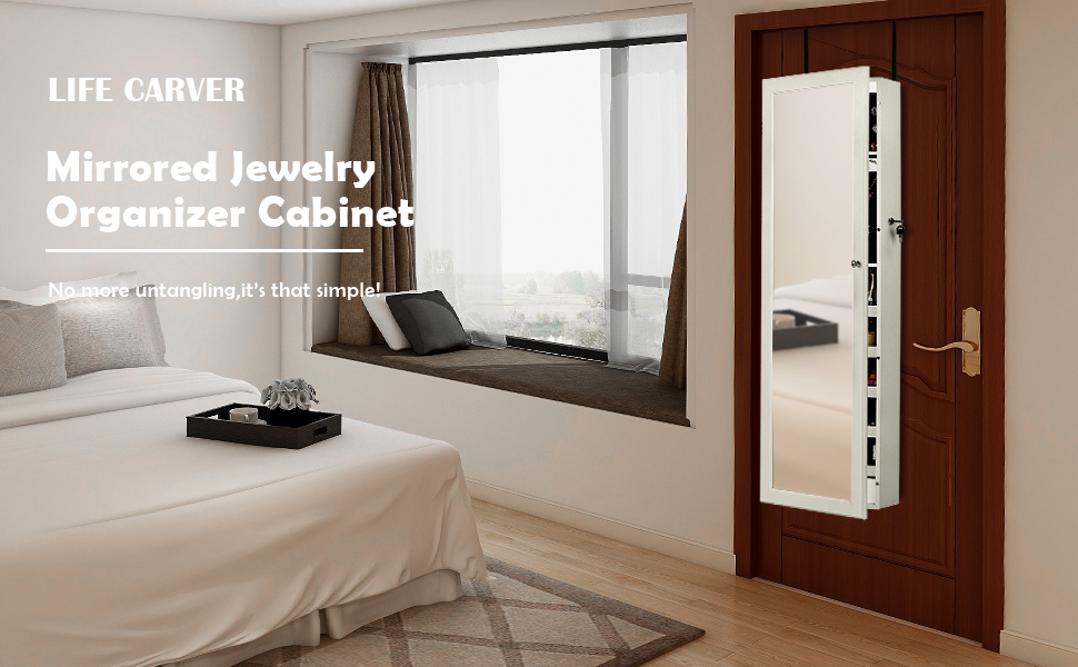 LIFE CARVER Wall//Door Mounted Mirror Jewellery Cabinet With LED Lights  Full Length Lockable Armoire ...
