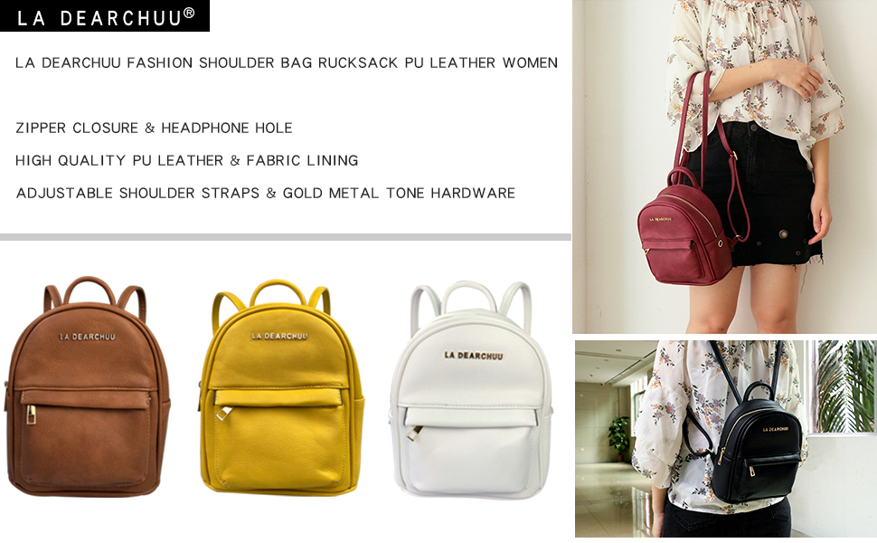6437539b7f1d LA DEARCHUU Small Backpacks for Women PU Leather Mini Backpack Purse ...