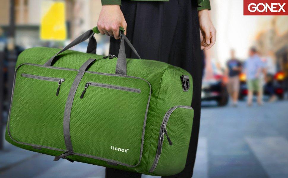 ac6652d1184d Gonex 60L Foldable Travel Duffel Bag Water & Tear Resistant 10 Color Choices