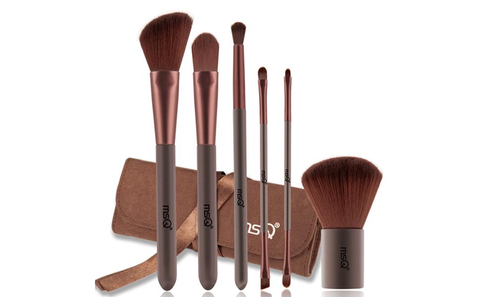 Angmile 6 piezas Set Pinceles de maquillaje de chocolate con estuche, kit de pinceles de maquillaje para mujeres Incluye pinceles de maquillaje diarios para la cara y adecuados para viajar: Amazon.es: Belleza