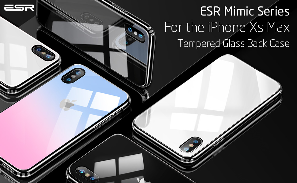 online retailer 6f69c 45db6 ESR Glass Case for iPhone Xs Max, 9H Tempered Glass Back Cover [Mimics The  Glass Back of iPhone] + Soft Silicone Bumper [Shock Absorption] for the ...