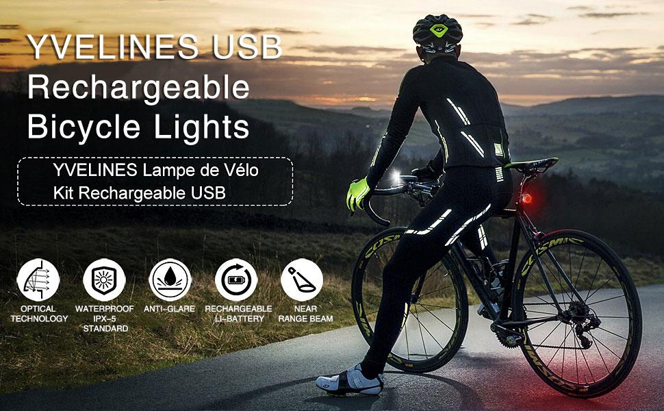 Super Bright Vélo Lumière Rechargeable USB DEL lumière vélo Wastou vélo lumière
