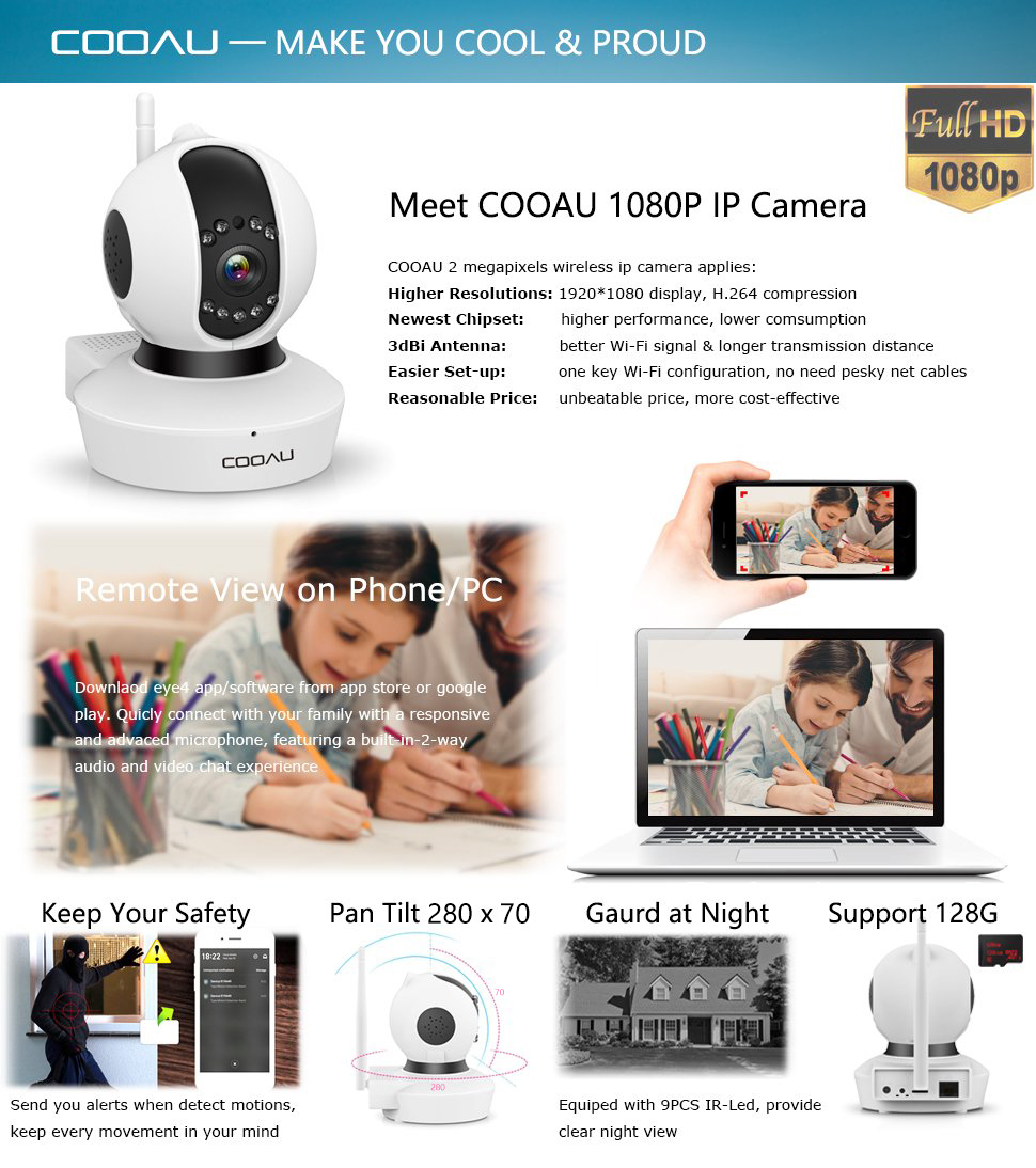COOAU IP Camera 1080P HD, 3dBi WiFi Wireless Home Security Surveillance  Camera, P2P Auto Cruise Baby Pet Monitor, Motion Detection Alert, Instant