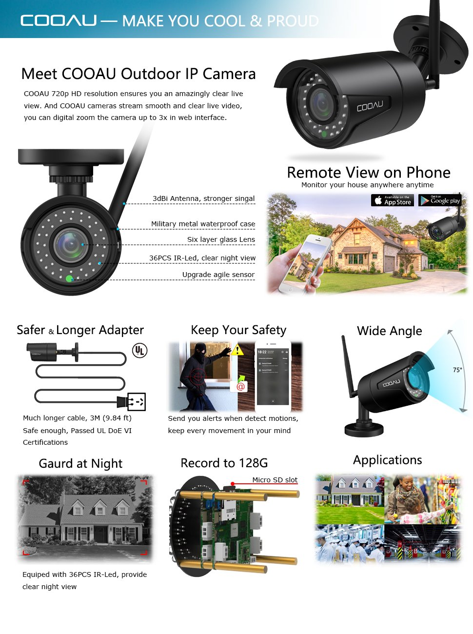 cooau outdoor ip camera wifi wireless security. Black Bedroom Furniture Sets. Home Design Ideas